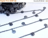 35% off Wholesale Oxidized Silver Plated Chain with Dangling Oxidized Silver 6mm Coin Charms -- 1 FOOT (CHN-372)