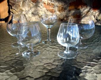 Set of 5 brandy snifters liqueur glasses