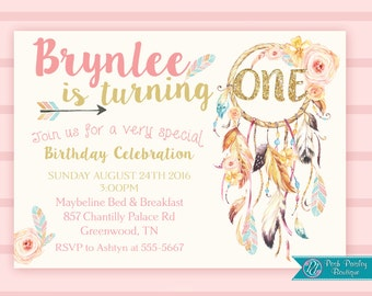 Boho Dreamcatcher First Birthday, 1st birthday girl,  Pink 1st Birthday Invitation, Floral Bohemian, Gold Glitter sparkle, Feather invite