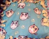 Blue & Yellow Cats Fleece Blanket