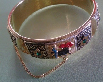 Matador and Bull design Hinged Gold Bangle