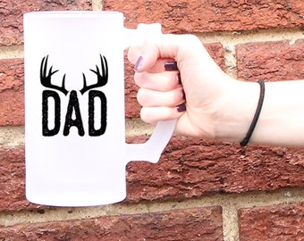 Dad Beer Mug, Fathers Day Mug, Fathers Day Gift idea, Deer antler gift, Rustic Wedding, Hunting wedding, Father of the Bride groom gifts