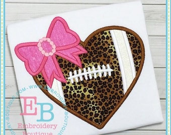 Football Applique Shirt - Applique Shirt - Football with bow Shirt - Football Applique Shirt - Girl's Football shirt