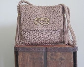 1970s Bag / Straw Bag / Straw Gold Chain / Made in Italy Purse / Tassel Bag / Raffia Bag / Brown / Boho / Festival Bag / Hippie