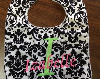 Black and white damask, personalized bib, cotton and terry, Baby girl  bib, 0-9 month size,