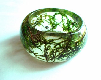 Hand Made Chunky  Real Green Moss Resin Bangle,Real Flower,Gift idea
