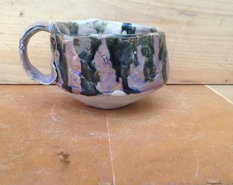 Pale Purple and Black Ceramic Espresso Mug