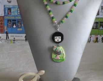 """Ravissant collier plastron  perles et céramiques shaby chic """"Une joyeuse kokeshi"""""""