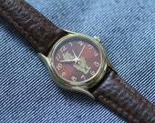 Vintage Winnie The Pooh Watch with brown leather strap