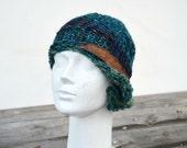 winter hat retro cloche green teal ginger hand knit felt decoration,1920 woman beanie, unique art to wear fashion design eco wool