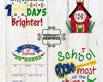 Back to School Bundle Designs with SVG, DXF, PNG Commercial & Personal Use