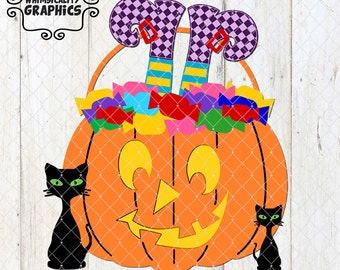 Halloween Trick or Treat Jack O' Lantern with Candy, Witches Legs and Black Cats with SVG, DXF, PNG Commercial & Personal Use