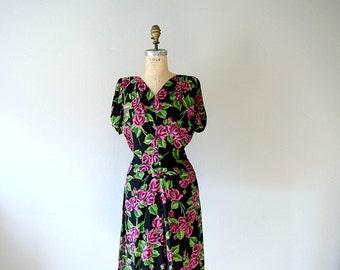 1940s rose print dress . vintage 40s rayon dress