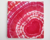 Red Heart Tie-Dyed Wall Art, Square, Ready to Frame or Hang
