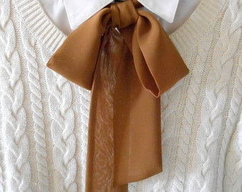 Casual Brown Bow Tie Scarf / Women Neck Accessory / Necktie Ascot Scarf