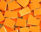 TANGERINE  Orange - Solid Color Stoneware Mosaic Tiles - Recycled Plates - 100 Tiles