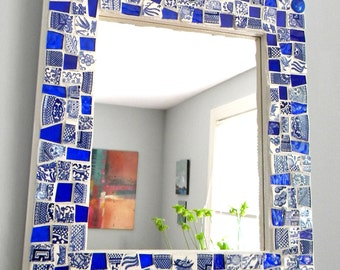 BLUEWILLOW China and Stained Glass Mosaic Mirror - Medium Size