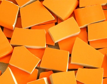 TANGERINE  Orange - Solid Color Stoneware Mosaic Tiles - Recycled Plates - 50 Tiles