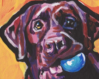 chocolate lab Labrador Retriever Dog art print pop art 8.5x11 inch