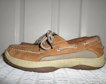 "Mens Deck Shoes Brown Size 7 Leather Tie Up 11"" length"