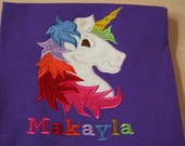 Rainbow Unicorn Birthday  Embroidered Applique Shirt or Bodysuit