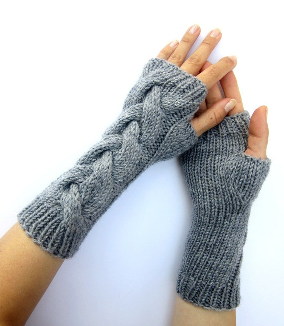 PDF knitting Pattern cabled long arm warmers fingerless gloves mittens from C...