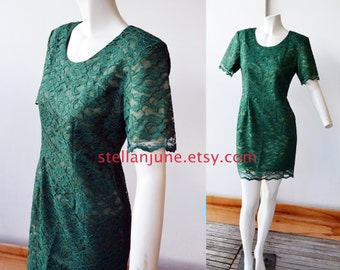 Vintage Forest Green Lace Party Dress Mod Green 60s Style Lace Overlay dress size 8