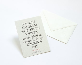 Letterpress Typography Postcard - Garamond.