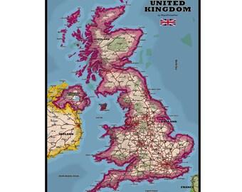 UNITED KINGDOM Map 1G- Handmade Leather Wall Hanging - Travel Art
