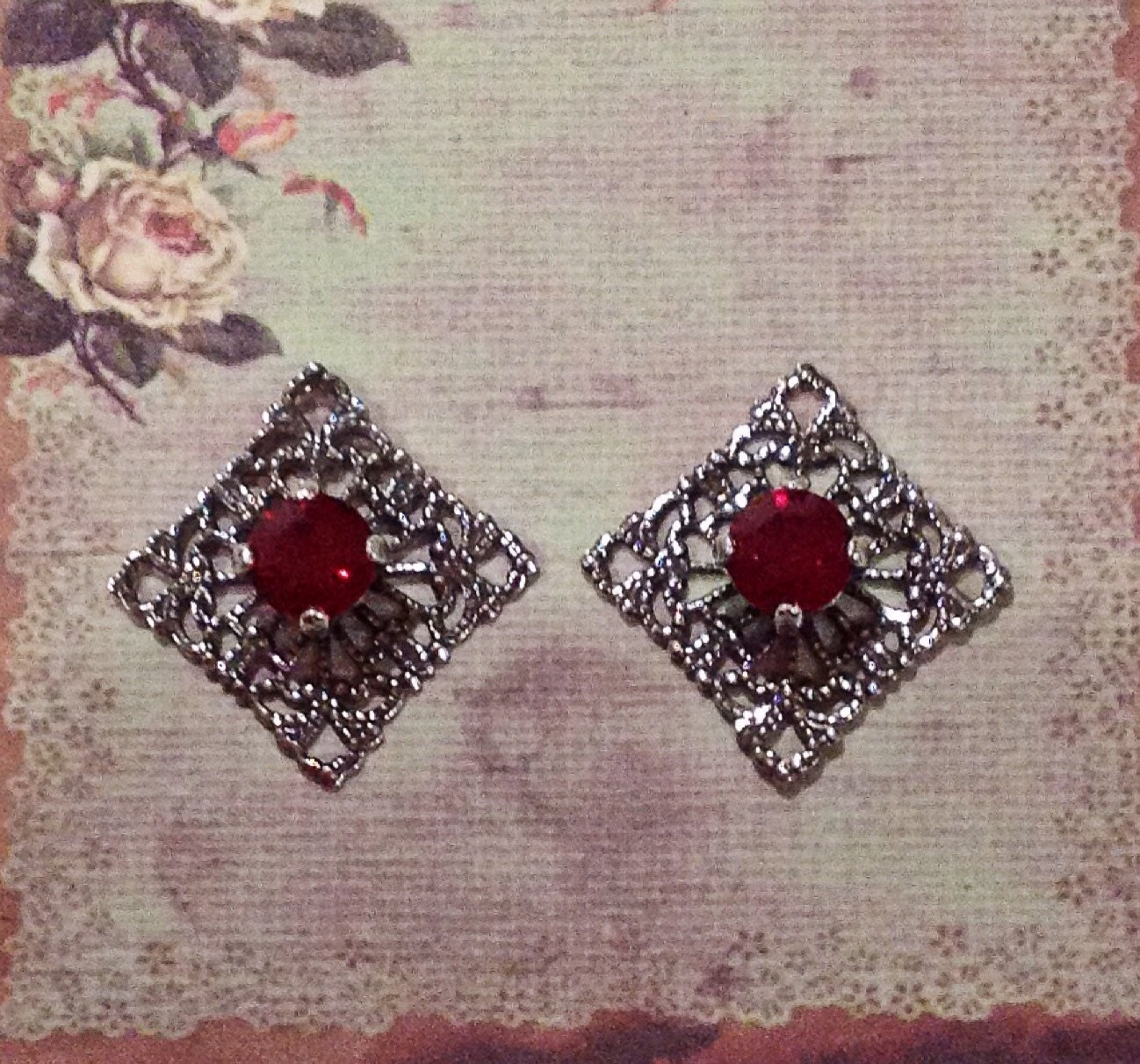1 Pair Of Antique Silver Filigree Squares With Ruby Dark