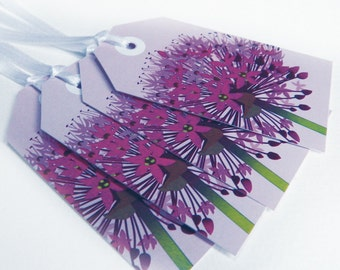 Purple Allium Flower Gift Tags - favours, party bags, scrapbooking