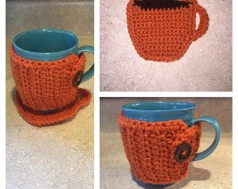 Crochet Coffee Cup Cozy and Coaster