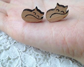 Laser cut fox wooden stud earrings (in gift box)