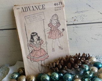 1950's Advance Dress Pattern for Little Girls - Retro Belted Play Clothes, Girls Size 6 Dress Paper Pattern, Vintage Printed Pattern #4671