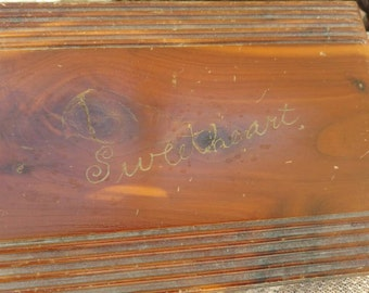 Vintage Wood Jewelry Box With Sweetheart Engraving - Beautiful Handcrafted Hinged Wooden Dresser Box for Jewelry, Decorative Wooden Boxes