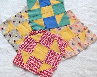 4 Vintage Hand Pieced Quilt Blocks