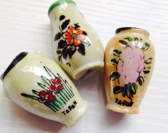 Lot of 3 Little Japanese Lusterware Vases
