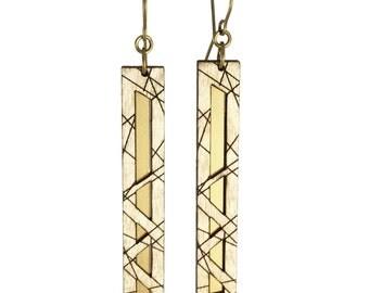 HATHOR | modern rectangular earrings, laser cut wood and brass earrings
