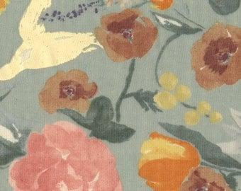 Nani Iro double gauze fabric, Fuccra Rakuen in St. Moritz, gray, by the yard