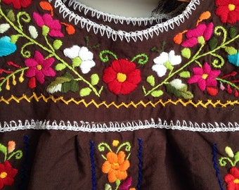 Vintage Hand Embroidered Brown Mexican Children's Dress