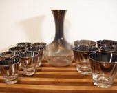 Vintage Silver Ombre Cocktail Set, Lowball Glasses, Double Shots, and Decanter, Mad Men Barware, Mid-Century Bar Set
