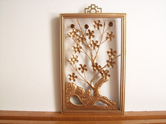 Items similar to mid century chinoiserie wall hanging for Hollywood regency wall decor