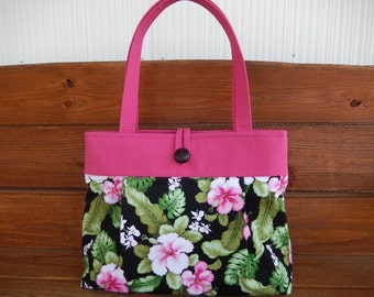 Handbag Purse Fabric Bag Accessories Women Handbag Large Pleated Floral Shoulder Bag in Black with Tropical Pink Flower print