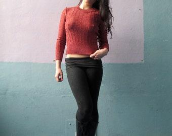 Vtg 70s Rose Gold Sweater Knit