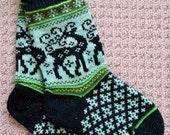 Wool Socks Norwegian Scandinavian folk art  Hand Crafted 100% wool, size Medium  Large, Reindeer Fair Isle