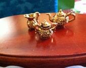 D.H. Tea Service, Gold plated Metal Pieces, Miniature Tea Service