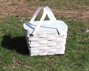 Distressed Wooden Picnic Basket