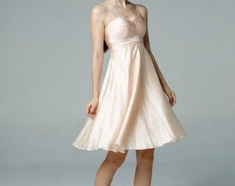 On Sale Size XXS Champagne Wedding dress party dress bridesmaid dress Prom handmade knee length formal dress - NC522-2