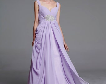 On Sale Size XS Light Purple Wedding dress/Silk Chiffon party dress - NC641-2