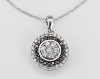 """White and Black Diamond Cluster Double Halo Pendant Necklace 1/2ct White Gold 18"""" Chain"""